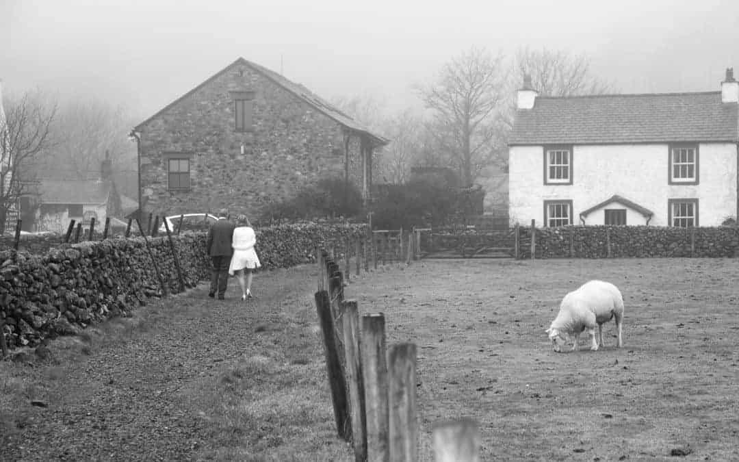 Our foggy wedding at St. Olaf's Church, Wasdale, Cumbria